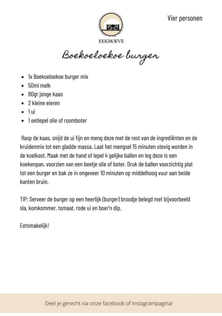 recept voor Boekoeloekoeburger