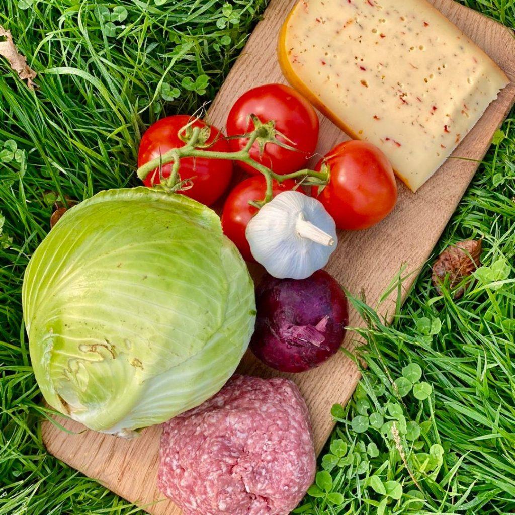 Ovenschotel van witte kool met gehakt en kaas van Landwinkel de Eekhoeve