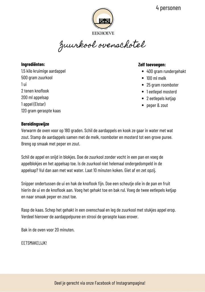 zoorkool ovenschotel recept voor pakket
