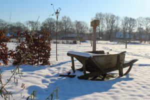 Sneeuw in de moestuin van de Eekhoeve in Veenendaal
